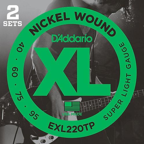 D'Addario EXL220TP Nickel Wound Bass Guitar Strings Super Light 40-95 2 Sets Lon