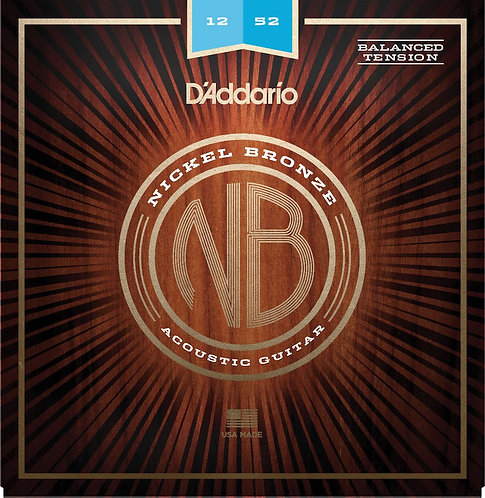 D'Addario NB1252BT Nickel Bronze Acoustic Guitar Strings Balanced Tension Light