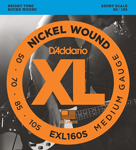 D'Addario EXL160S Nickel Wound Bass Guitar Strings Med 50-105 Short Scale