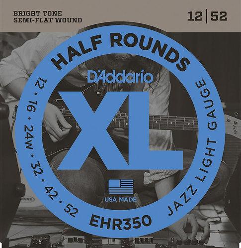 D'Addario EHR350 Half Round Electric Guitar Strings Jazz Light 12-52