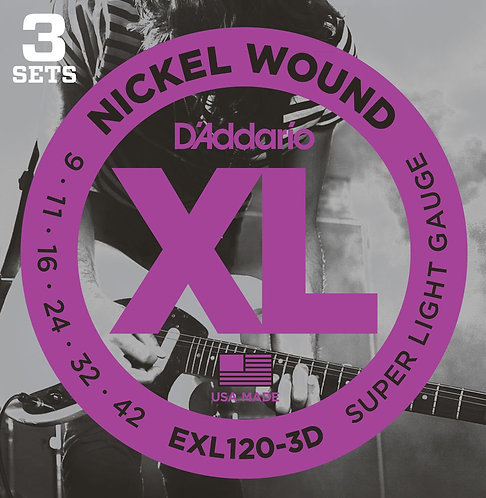 D'Addario EXL120-3D Nickel Wound Electric Guitar Strings Super Light 09-42 3p