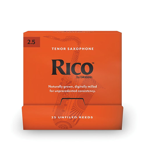 Rico by D'Addario Tenor Saxophone Reeds #2.5 25-Count SGL Reeds