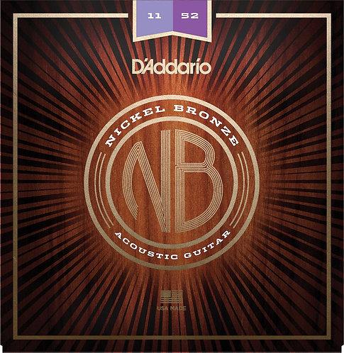 D'Addario NB1152 Nickel Bronze Acoustic Guitar Strings Custom Light 11-52