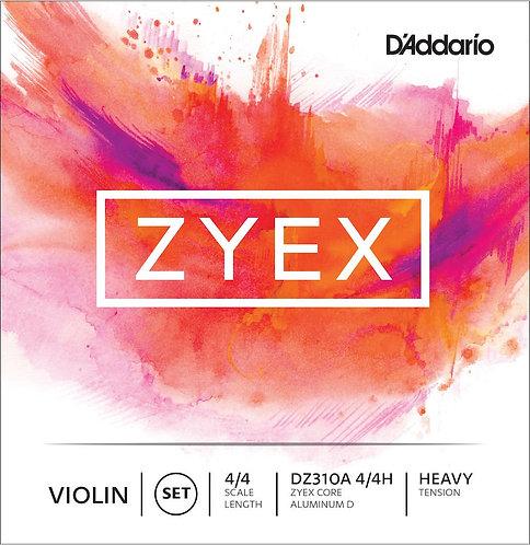 D'Addario Zyex Violin String Set w/Aluminum D 4/4 Scale Hvy Tension
