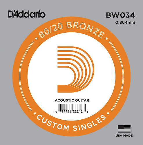 D'Addario BW034 Bronze Wound Acoustic Guitar SGL String .034