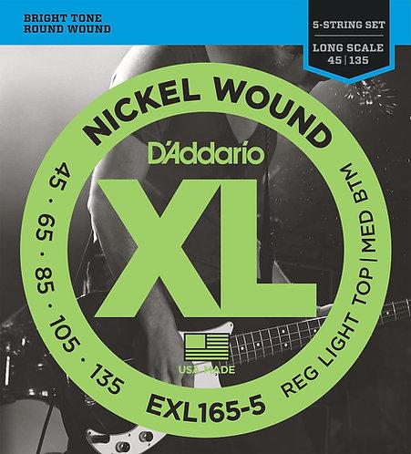 D'Addario EXL165 5-String Nickel Wound Bass Guitar Strings Custom Light 45-135