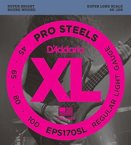 D'Addario EPS170SL ProSteels Bass Guitar Strings Light 45-100 Super Long