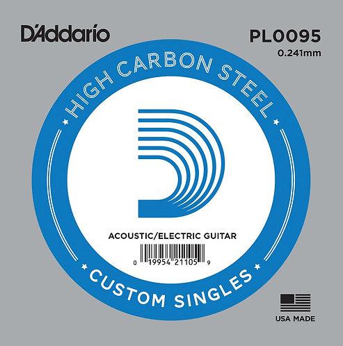 D'Addario PL0095 Plain Steel Guitar SGL String .0095