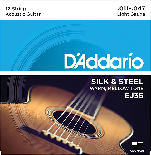 D'Addario EJ35 Silk & Steel 12-String Folk Guitar Strings 11-47