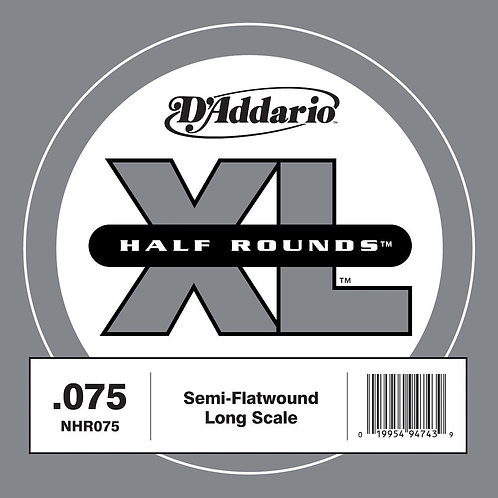 D'Addario NHR075 Half Round Bass Guitar SGL String Long Scale .075