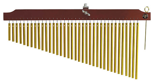 36 Gold Chimes with Brown Finish Wood Bar