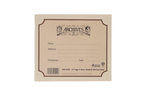Archives Standard Bound Manuscript Paper Book 6 Stave 64 Pages