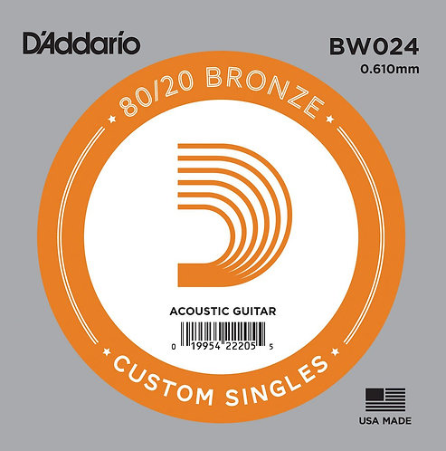 D'Addario BW024 Bronze Wound Acoustic Guitar SGL String .024