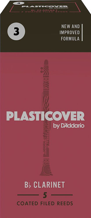 Plasticover by D'Addario Bb Clarinet Reeds Strength 3 5-pack