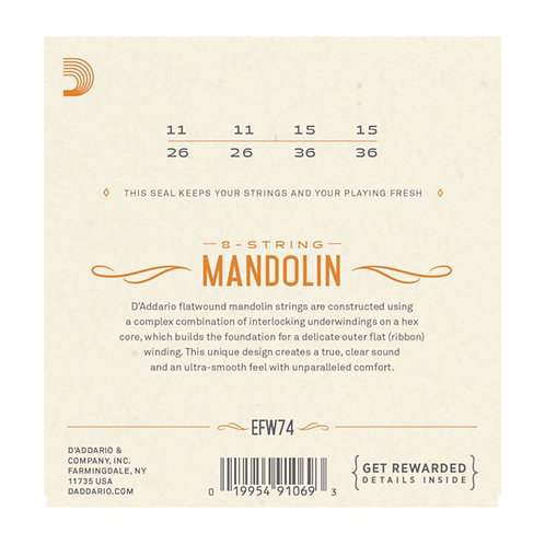D'Addario EFW74 Flatwound Mandolin Strings Stainless Steel Med 11-36