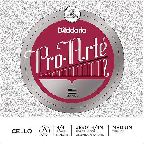 D'Addario Pro-Arte Cello SGL A String 4/4 Scale Med Tension