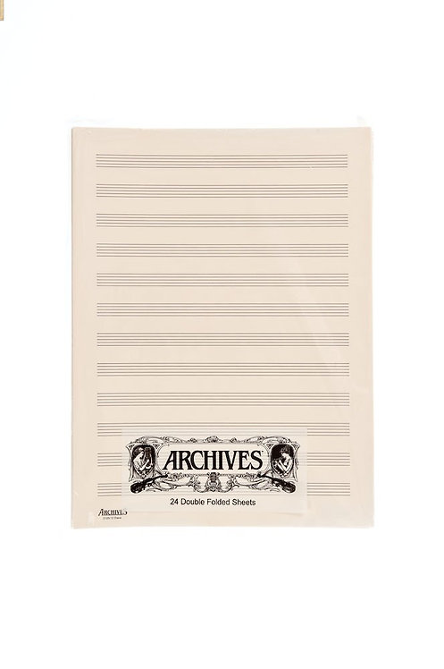 Archives Double-Folded Manuscript Paper Sheets 12 stave 24 Sheets