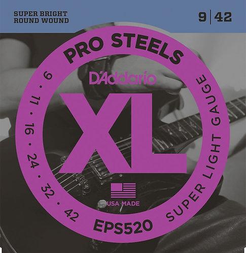 D'Addario EPS520 ProSteels Electric Guitar Strings Super Light 09-42