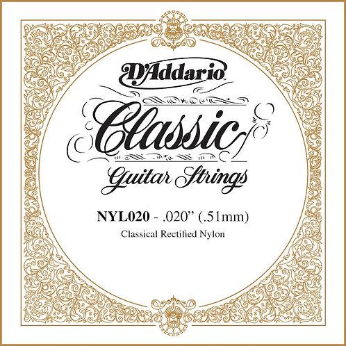 D'Addario NYL020 Rectified Nylon Classical Guitar SGL String .020