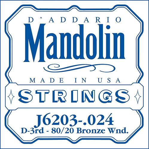 D'Addario J6203 80/20 Bronze Wound Mandolin SGL String .024