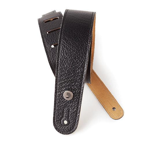 D'Addario Slim Garment Leather Guitar Strap Black