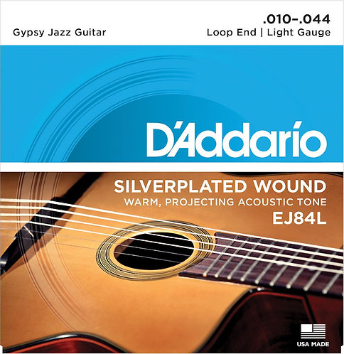 D'Addario EJ84L Gypsy Jazz Acoustic Guitar Strings Loop End Light 10-44