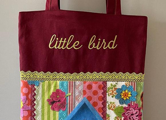 Tasche mit Stickerei little bird