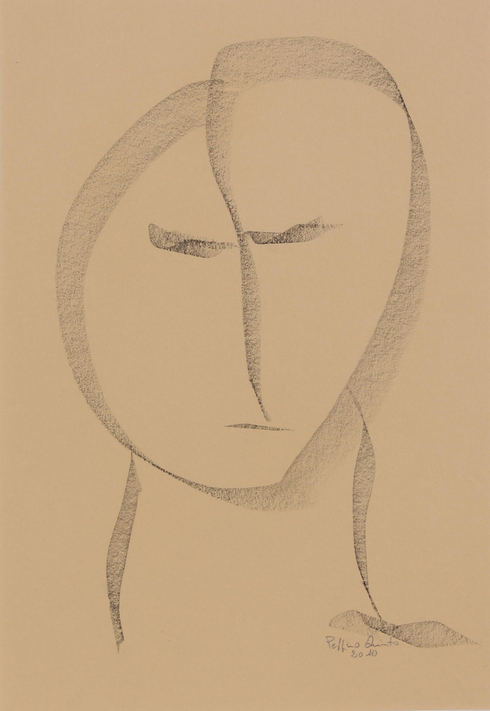 Volto ovale, schizzo, 2010 -  cm 27x40