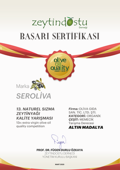 Zeytindostu Derneği Naturel Sızma Kalite Yarışması Altın Madalya