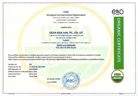 Seroliva Etko Organik Sertifikası