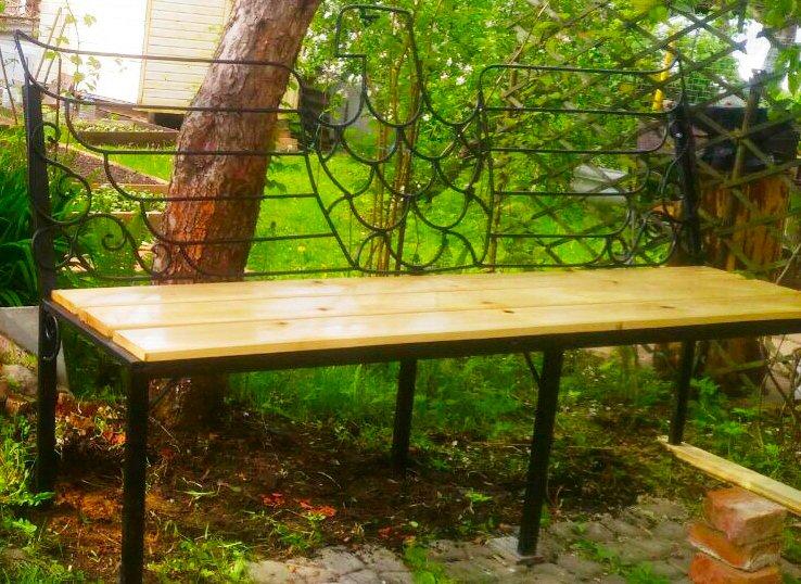 Садовая лавка дерево/металл/ковка