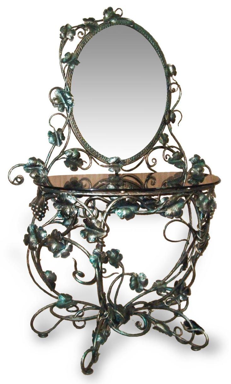 Кованый зеркальный столик М6