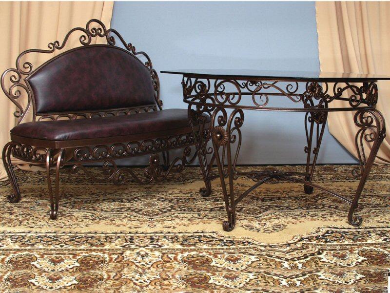 Кованая лавка со столом (ковка) М50