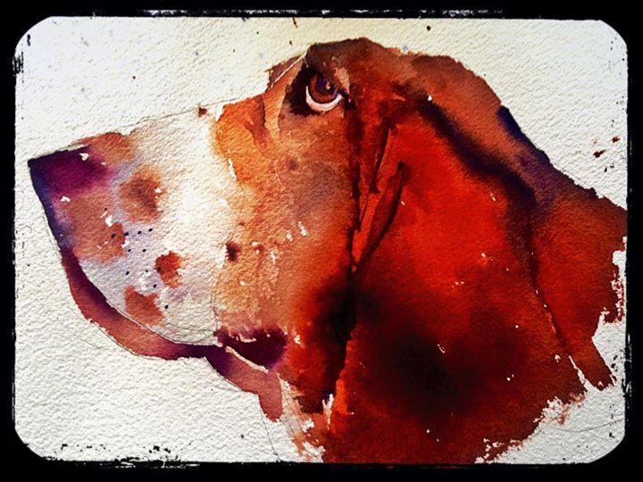 """Basset hound (9X12"""")"""
