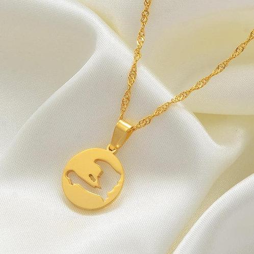 """il d'Ayiti"" Coin Necklace (Island of Haiti) | 14K Gold Plated | Minimalist"