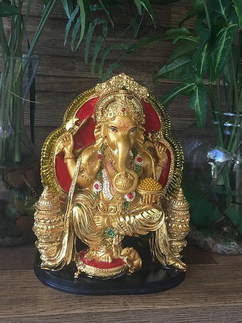 Ganesha Dourado Trono Vermelho