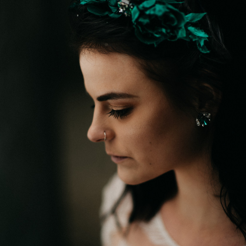 rebel bride fine-art winter wedding inspiration with Rienne headpiece and earrings by The Wedding Fox in Sorg Villa Budapest