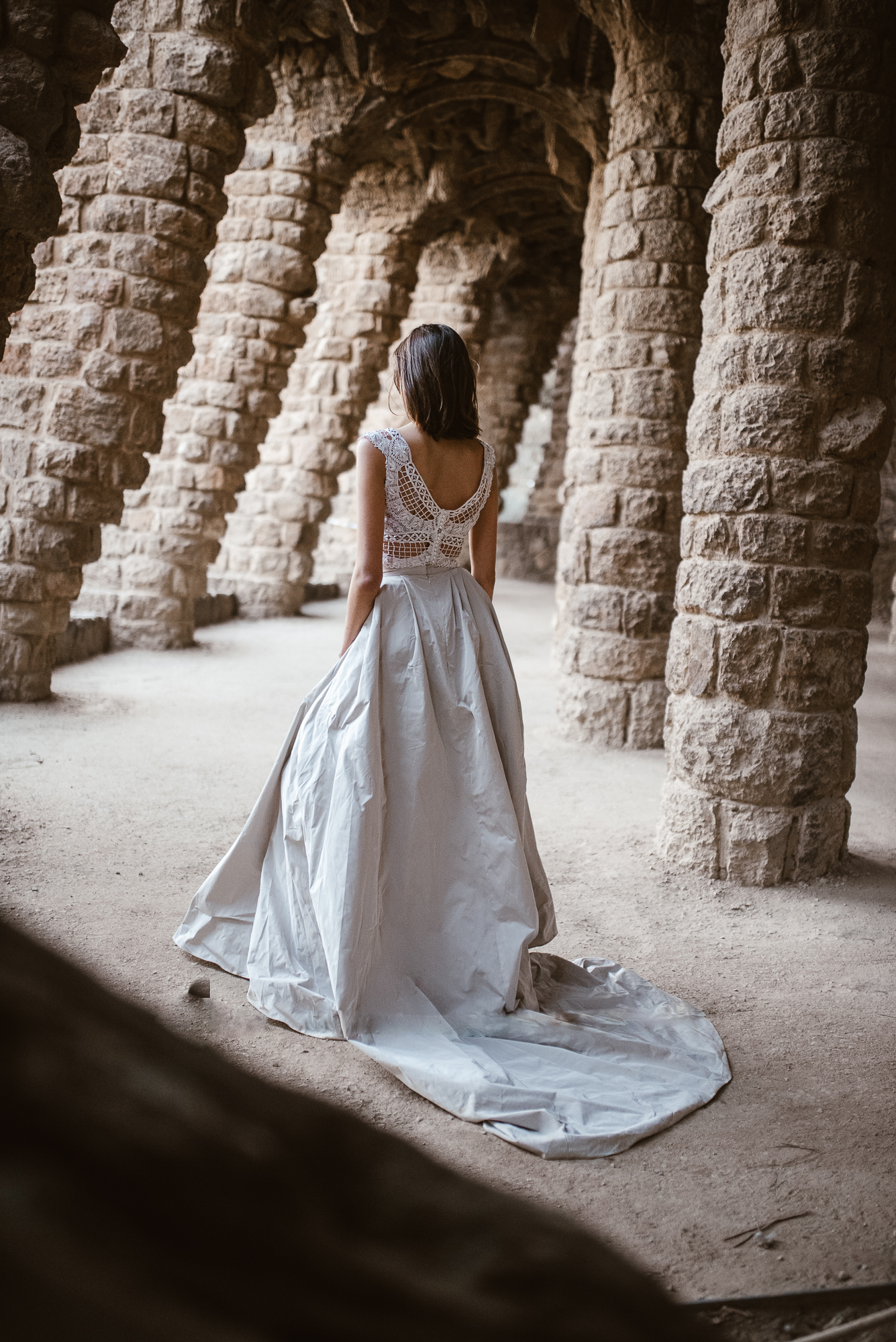 lace wedding dress inspiration from the land of Pronovias in Güell Park | The Wedding Fox
