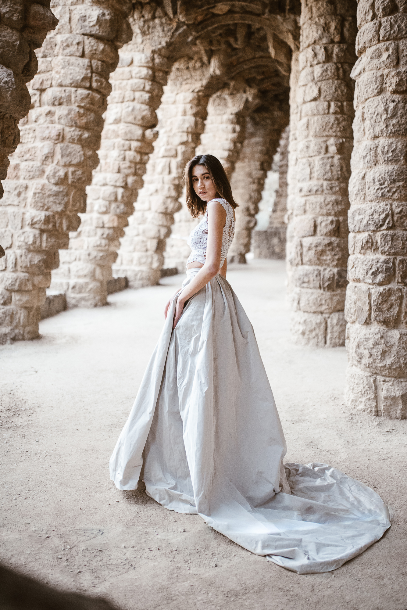 bohemian wedding dress inspiration from the land of Pronovias in Güell Park | The Wedding Fox