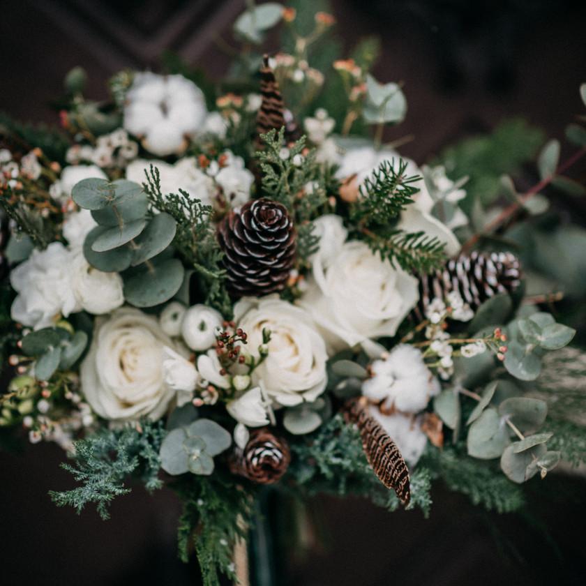 winter bridal bouquet by The Wedding Fox