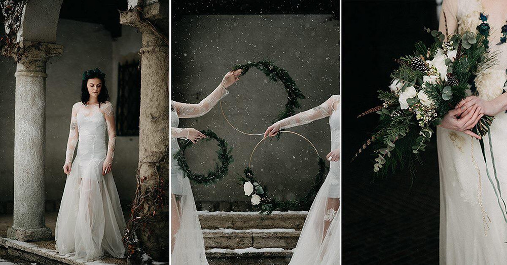 vintage winter wedding inspiration for vintage Nora Sarman bridal gowns by The Wedding Fox