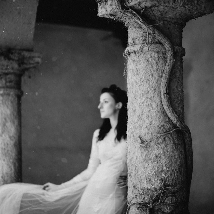 fine-art winter wedding inspiration in Nora Sarman wedding gowns  by The Wedding Fox