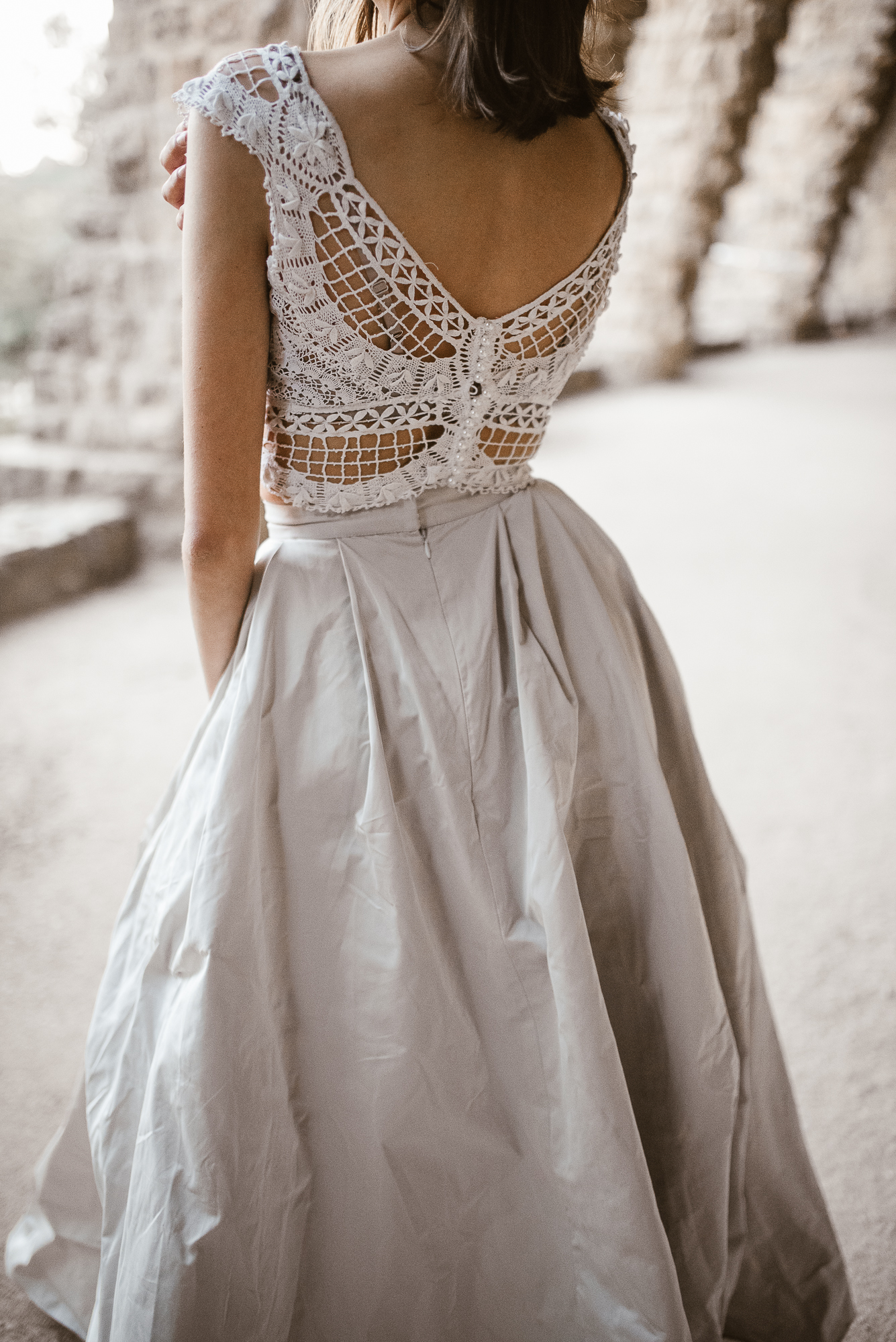 wedding dress inspiration from the land of Pronovias in Güell Park | The Wedding Fox