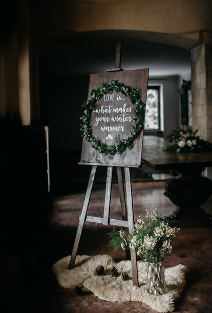 wedding sign winter style by The Wedding Fox