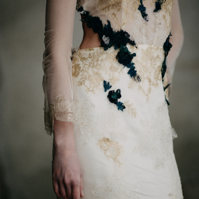 Nora Sarman gold lace wedding gown by The Wedding Fox