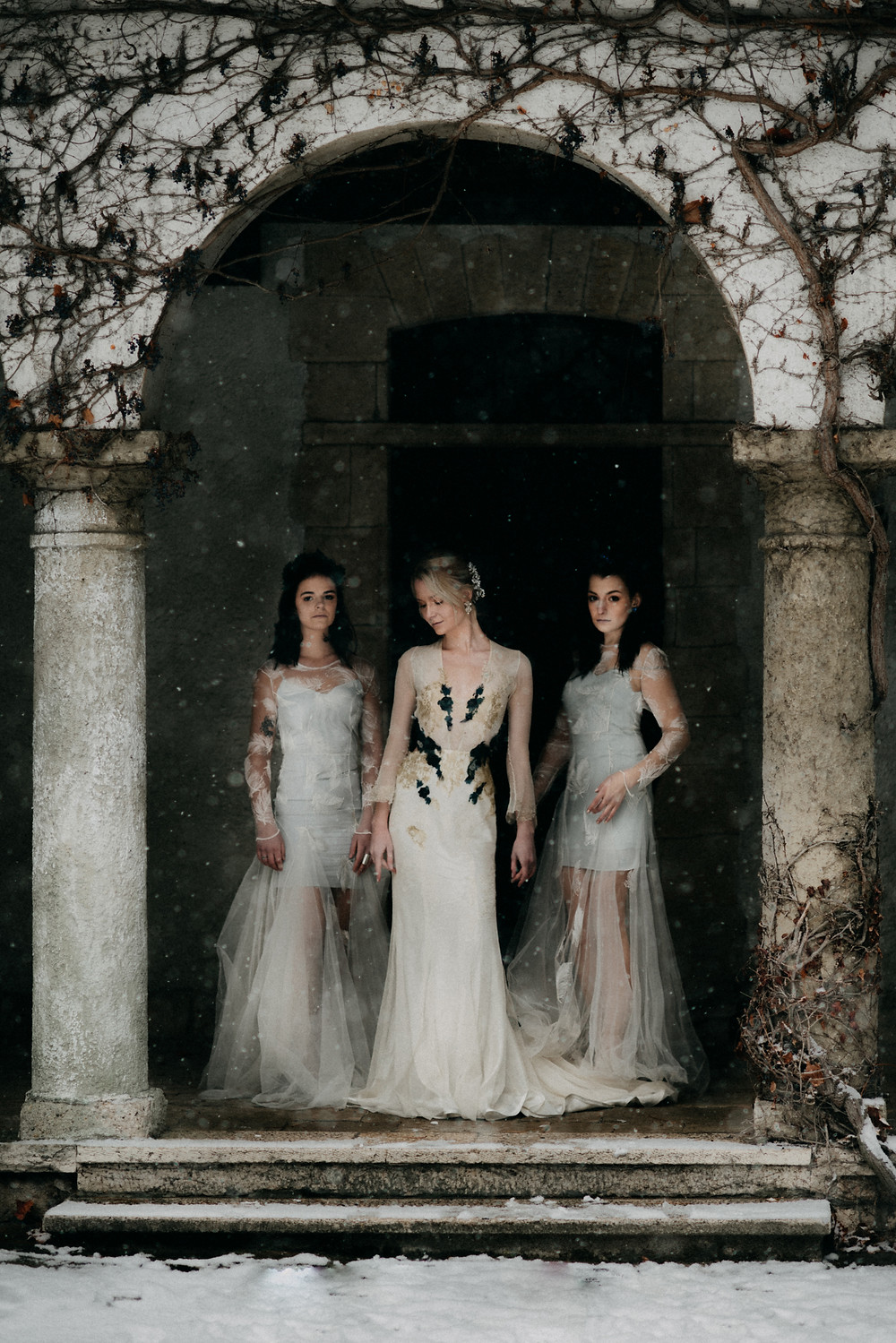 fine-art winter wedding inspiration in Nora Sarman wedding gowns  by The Wedding Fox