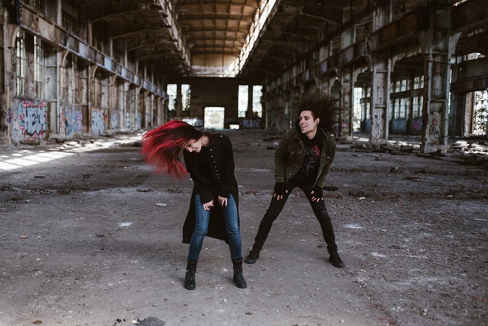 metalhead couple whipping hair by The Wedding Fox International Wedding Photography