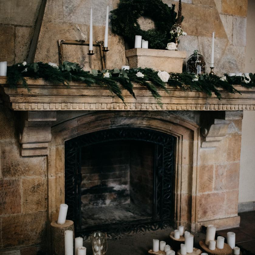 winter wedding decoration ideas fireplace pine logs The Wedding Fox