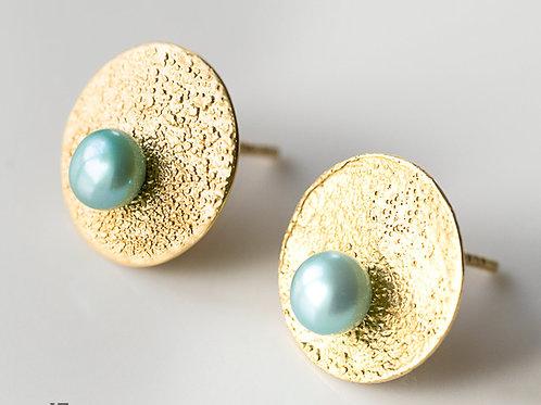Kolczyki LANOCHE koła 14 mm z seledynową perłą gold