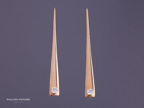 Kolczyki WING gold z białą cyrkonią